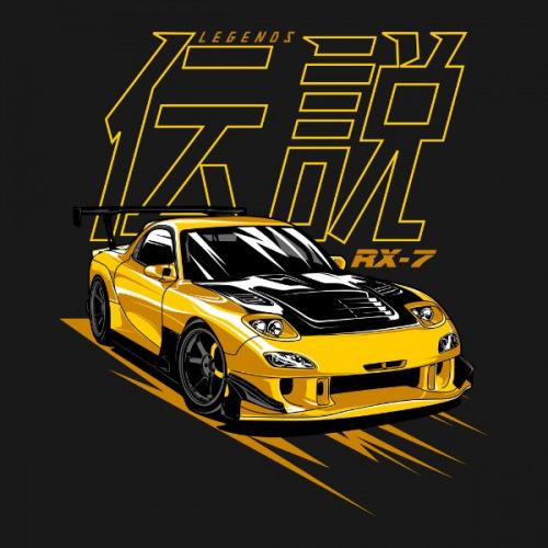 Dámské tričko s potiskem Mazda RX7 Legend žlutá