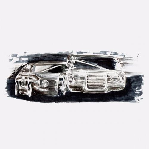 Dámské tričko s potiskem Mercedes Benz + Alfa Handdrawn