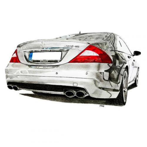 Dámské tričko s potiskem Mercedes Benz CLS55 AMG Handdrawn