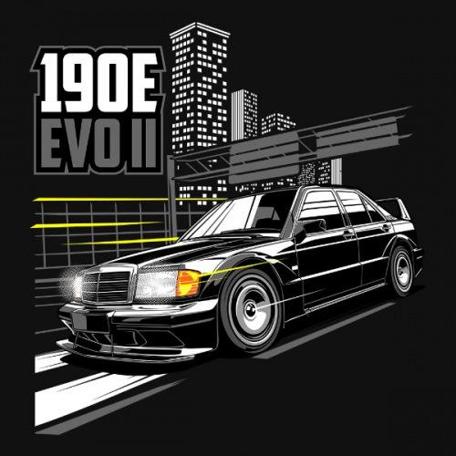 Dámské tričko s potiskem Mercedes Benz 190E EVOII