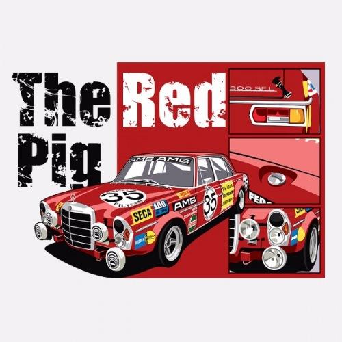 Dámské tričko s potiskem Mercedes Benz: The Red Pig
