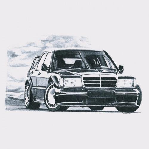 Dámské tričko s potiskem Mercedes Benz W201 EVO