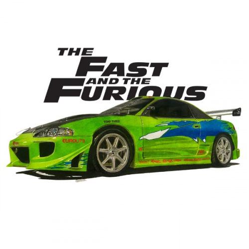 Pánské tričko s potiskem Mitsubishi Eclipse Rychle a zběsile (Movie car)