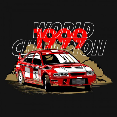 Pánské tričko s potiskem Mitsubishi EVO 6: World Champion
