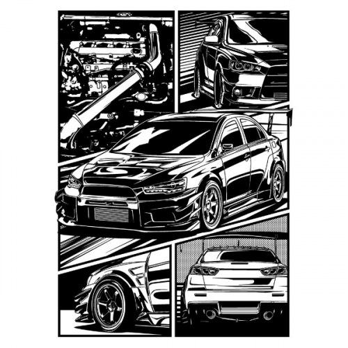 Pánské tričko s potiskem Mitsubishi Lancer Evo X Cartoon
