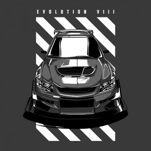 Pánské tričko s potiskem Mitsubishi Lancer Evo 8 Front