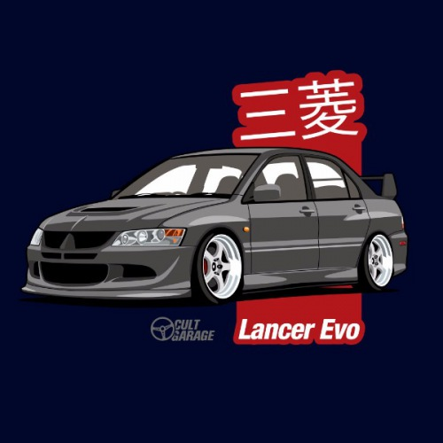 Dámské tričko s potiskem Mitsubishi Lancer Evo 8 Černý