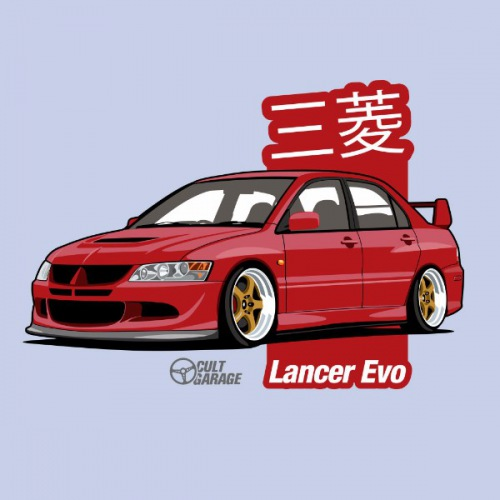 Pánské tričko s potiskem Mitsubishi Lancer Evo 8 Červený