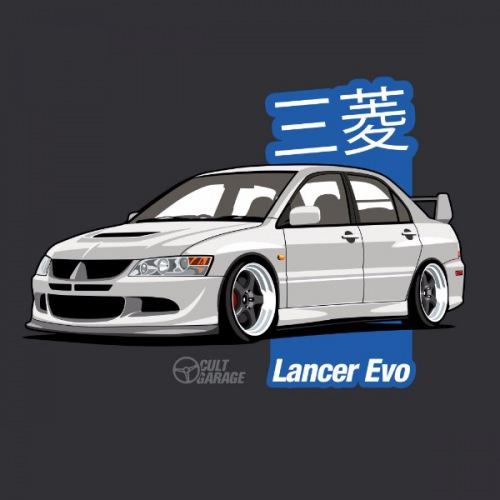 Dámské tričko s potiskem Mitsubishi Lancer Evo 8 Bílý