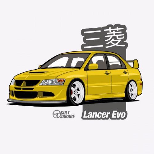 Dámské tričko s potiskem Mitsubishi Lancer Evo 8 Žlutý