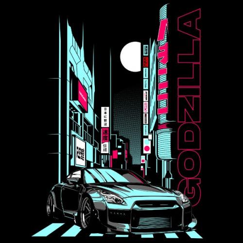 Dámské tričko s potiskem Nissan GT-R Godzilla
