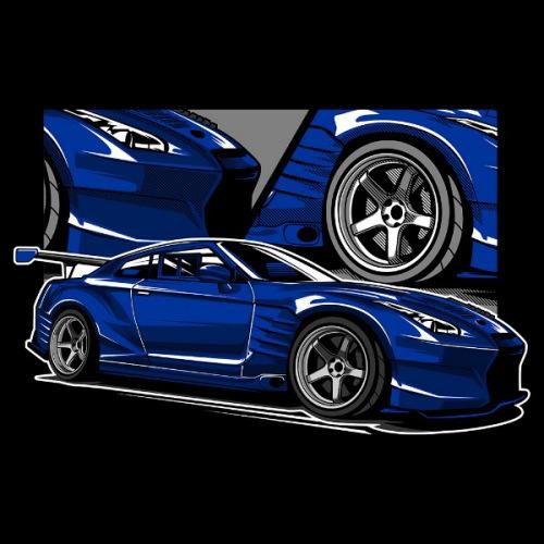 Dámské tričko s potiskem Nissan GTR R35 Blue
