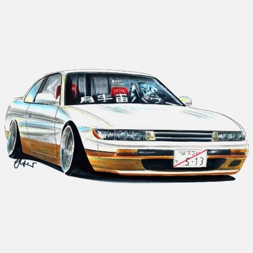 Dámské tričko s potiskem Nissan Silvia S13 bílá