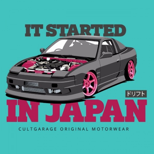 Pánské tričko s potiskem Nissan 240 SX:černo/fialová