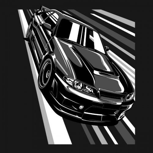 Dámské tričko s potiskem Nissan Skyline GT-R R33