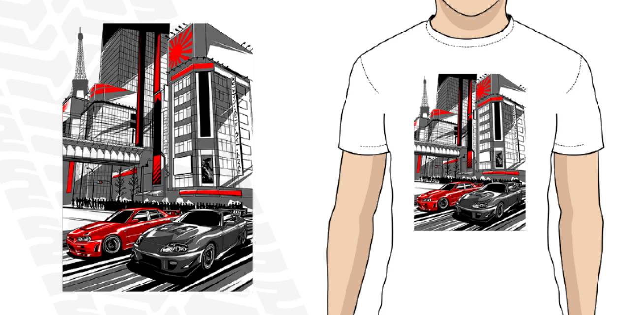 Pánské tričko s potiskem Rivals Nissan GTR a Toyota Supra fd8166a933f