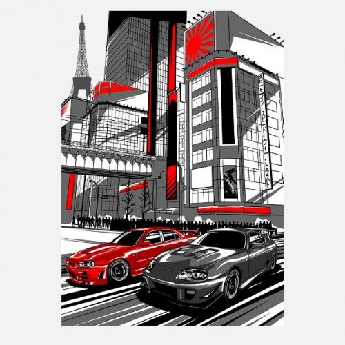 Dámské tričko s potiskem Rivals Nissan GTR a Toyota Supra