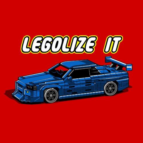 Dámské tričko s potiskem Nissan Skyline GT-R R34 LEGO
