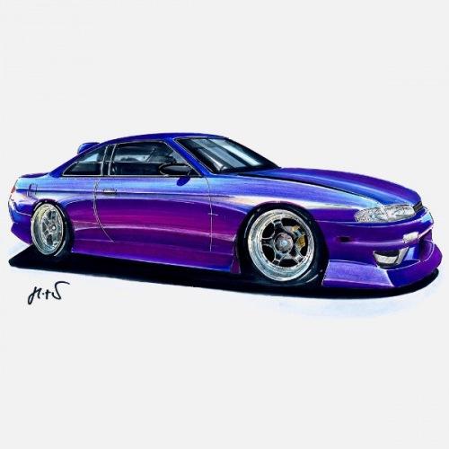 Dámské tričko s potiskem Nissan S14 fialový