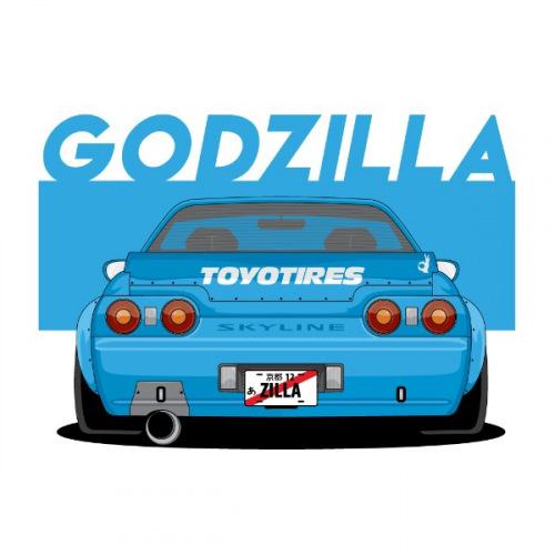 Dámské tričko s potiskem Nissan Skyline Godzilla R32