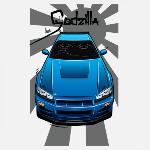 Dámské tričko s potiskem Nissan Skyline R34 by Looki