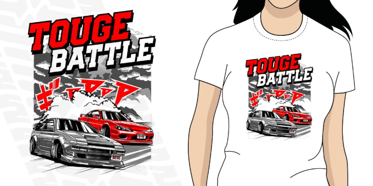 Dámské tričko s potiskem Touge Battle Nissan S 15 vs Toyota AE86 3da79a2cb02