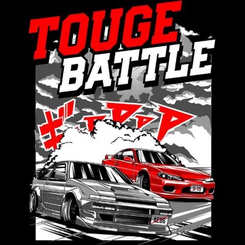 Dámské tričko s potiskem Touge Battle Nissan S 15 vs Toyota AE86