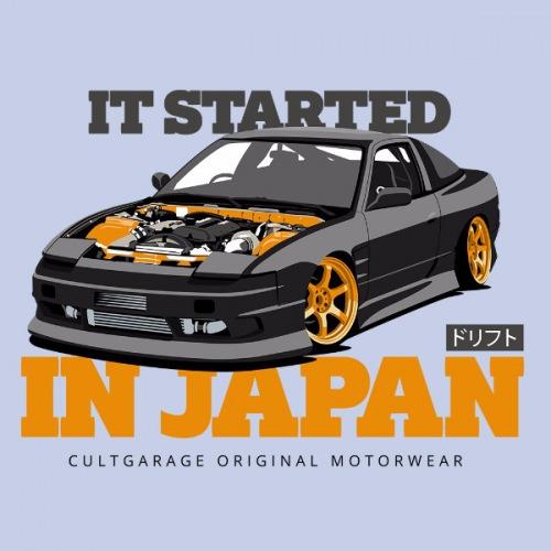 Dámské tričko s potiskem Nissan 240 SX: černo/oranžová
