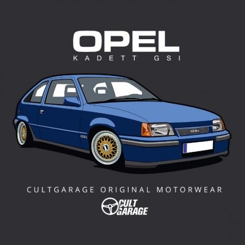 Dámské tričko s potiskem Opel Kadett GSI Modrý 2