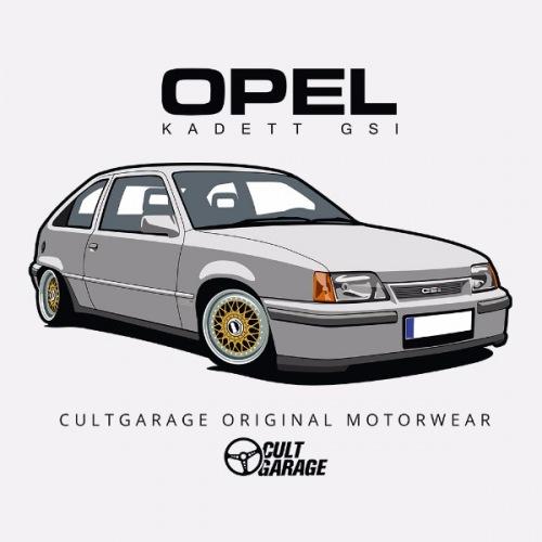 Pánské tričko s potiskem Opel Kadett GSI Stříbrný 1