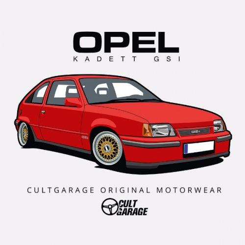Pánské tričko s potiskem Opel Kadett GSI Červený 1