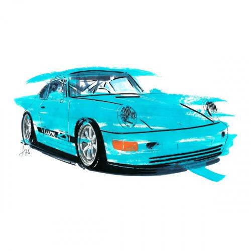 Pánské tričko s potiskem Porsche 964 RS