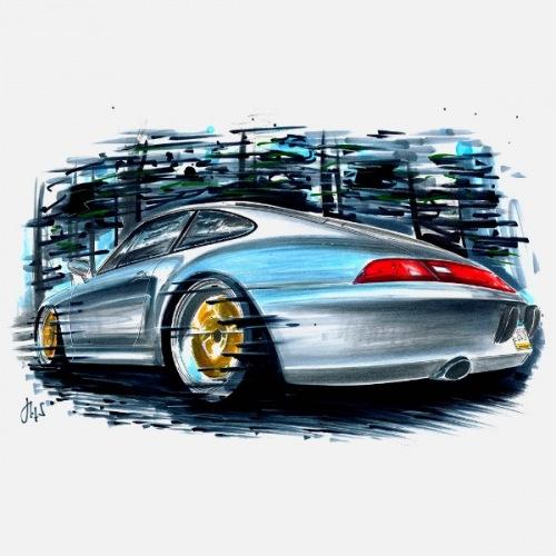 Dámské tričko s potiskem Porsche 993 Art