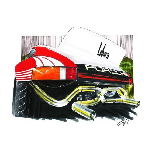 Pánské tričko s potiskem Porsche 911 Liboro Handdrawn