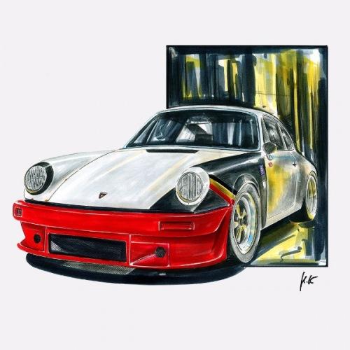 Pánské tričko s potiskem Porsche 911 Red Front Bumper