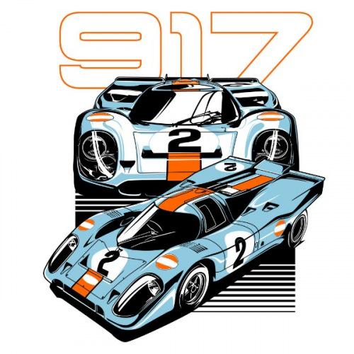 Dámské tričko s potiskem Porsche 917 Gulf
