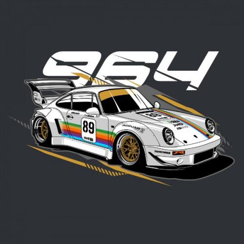 Pánské tričko s potiskem Porsche 964 RWB Apple