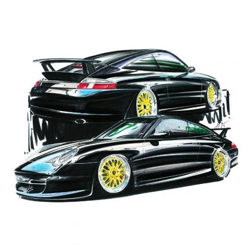Pánské tričko s potiskem Porsche 996 Black Handdrawn