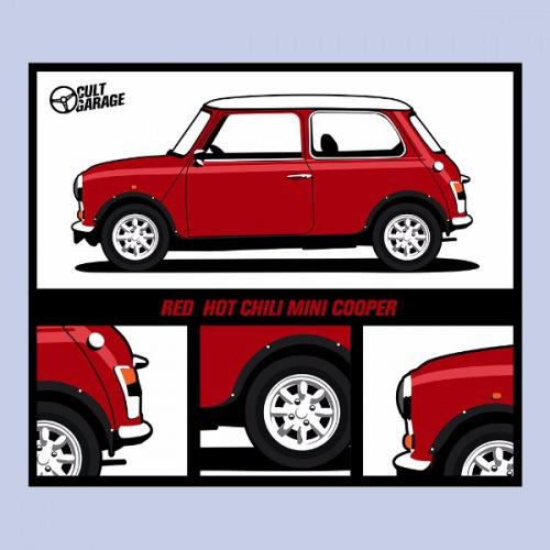 Dámské tričko s potiskem Mini Cooper Red Hot