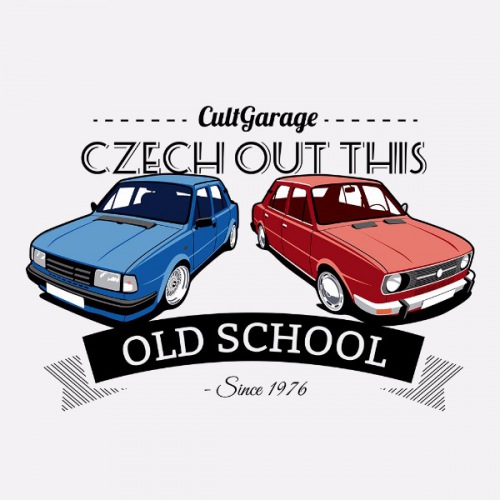 Dámské tričko s potiskem Škoda 105 a 120 Oldschool 1