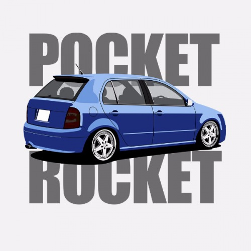 Dámské tričko s potiskem Škoda Fabia 1 modrá RP