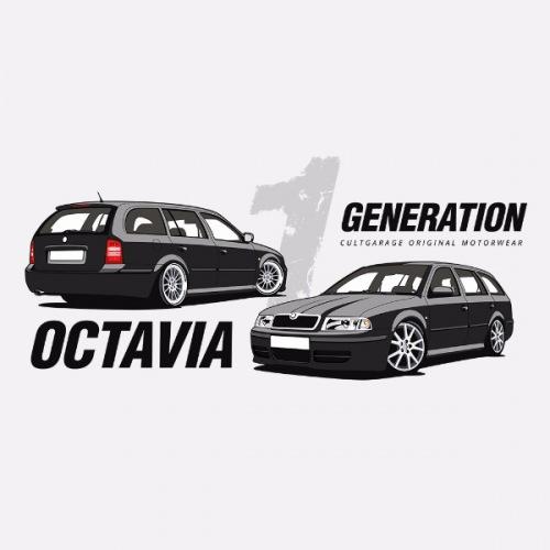 Pánské tričko s potiskem Škoda Octavia 1 Combi černá 1