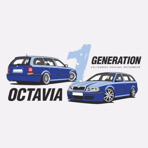 Dámské tričko s potiskem Škoda Octavia 1 Combi modrá 1