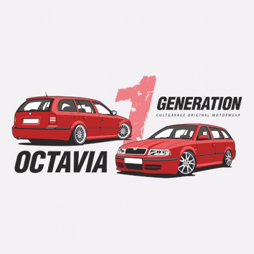 Dámské tričko s potiskem Škoda Octavia 1 Combi červená 1