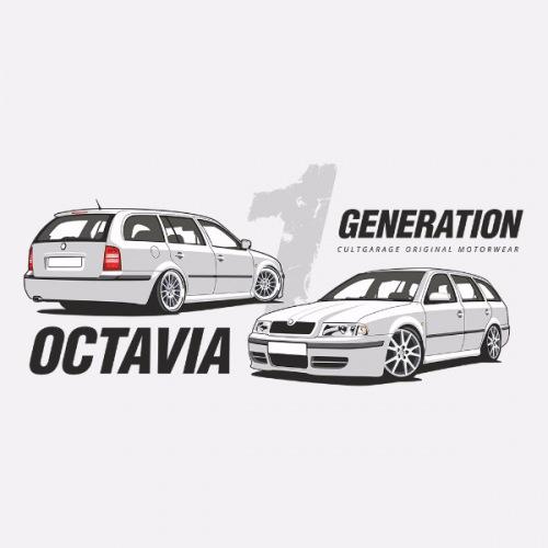 Pánské tričko s potiskem Škoda Octavia 1 Combi bílá 1