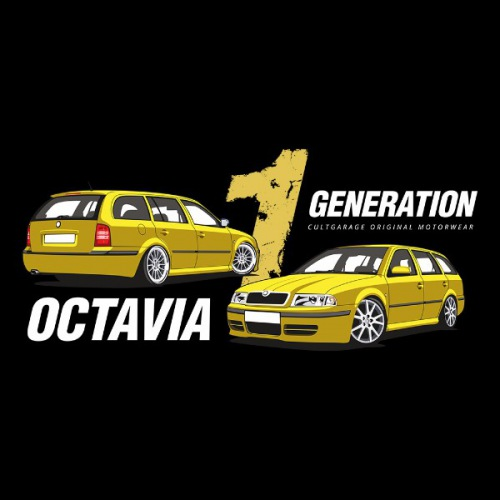 Dámské tričko s potiskem Škoda Octavia 1 Combi žlutá 2