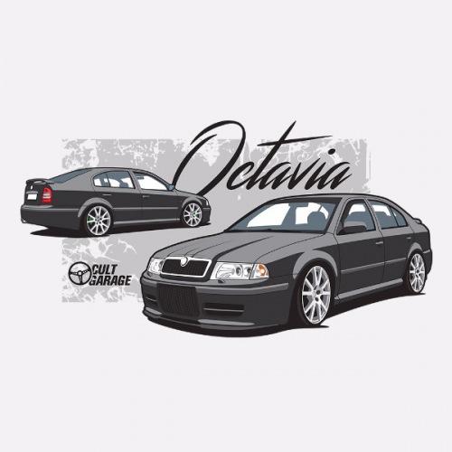 Pánské tričko s potiskem Škoda Octavia 1 Sedan černá 1