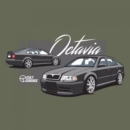 Dámské tričko s potiskem Škoda Octavia 1 Sedan černá 2