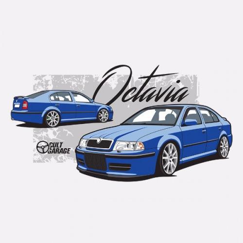 Dámské tričko s potiskem Škoda Octavia 1 Sedan modrá 1