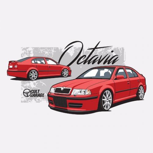 Dámské tričko s potiskem Škoda Octavia 1 Sedan červená 1
